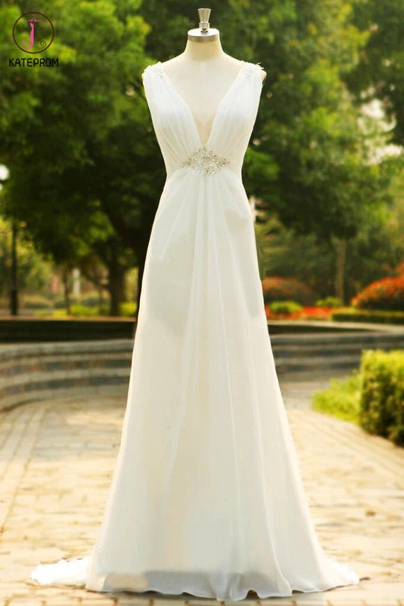 Charming V-Neck Long Chiffon Beach Wedding Dress KPW0010