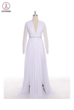 Simple White Chiffon Deep V-neck Long Wedding Dresses KPW0009