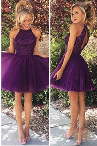 Open Back Homecoming Dress,Halter Purple Beaded Tulle Cocktail Dresses,Short Prom Dress KPH0009