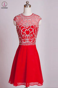 Homecoming Dresses Red Chiffon Cap Sleeves Short Prom Dress  KPH0006