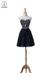 Navy Blue Chiffon Beaded Short Prom\Evening Dresses KPH0005