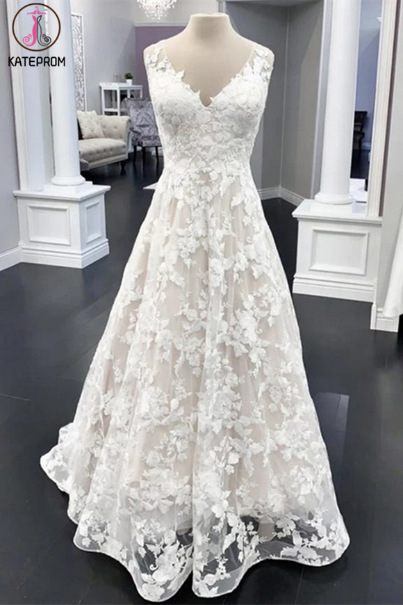 Kateprom A Line V Neck White Floral Lace Wedding gown online, Cheap prom dress,White Evening Dresses KPW0591