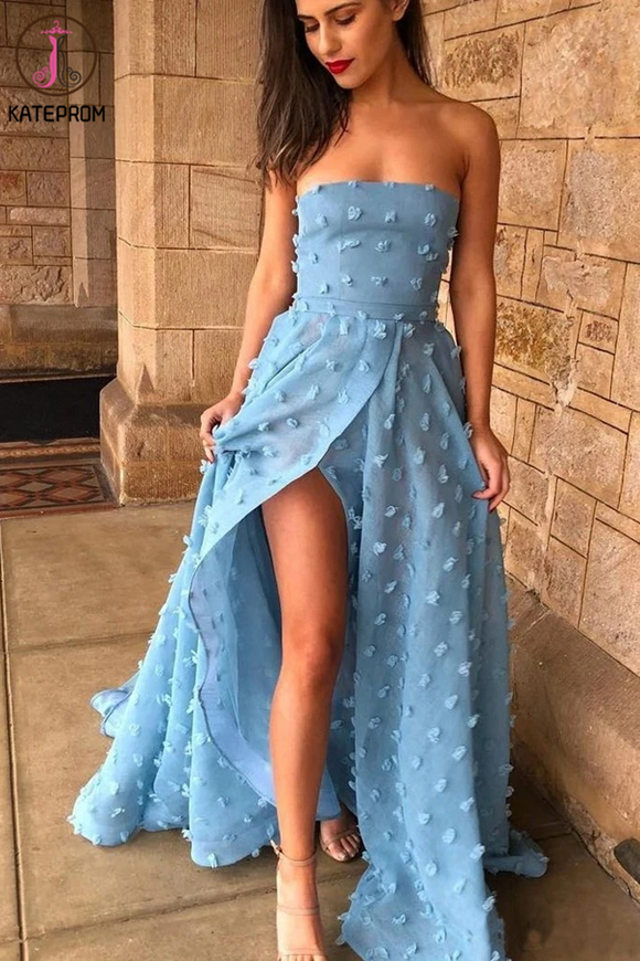 Kateprom Appliques Sexy A line See Through Strapless Slit Backless Blue Prom Dresses KPP1314