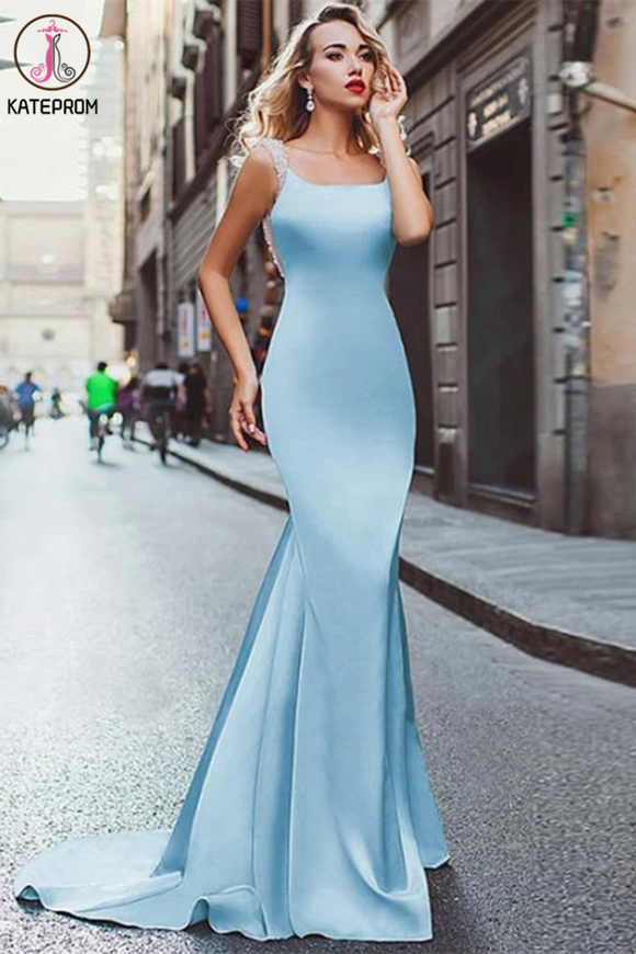 Kateprom Light Sky Blue Mermaid Prom Dresses Straps Modest Long Prom Dress Evening Dresses KPP1318