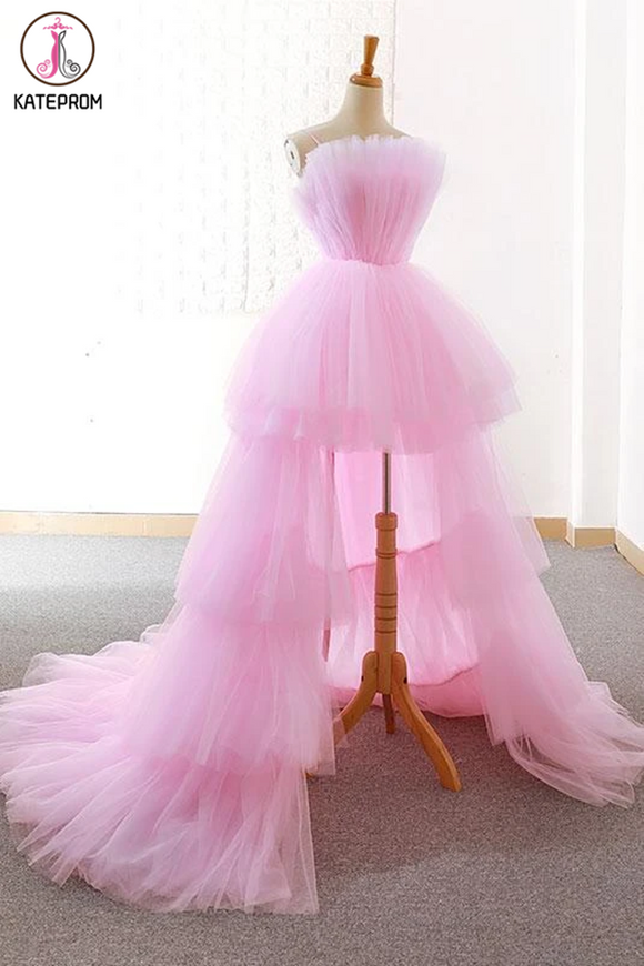 Kateprom A-line Pink High Low Prom Dress Tulle Formal Dresses Evening Gowns for Sale KPP1319