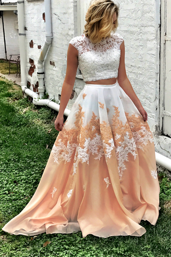 Kateprom Cheap Princess Party Dress, Two Piece Long Prom Dress with Open Back for Sale KPP1328