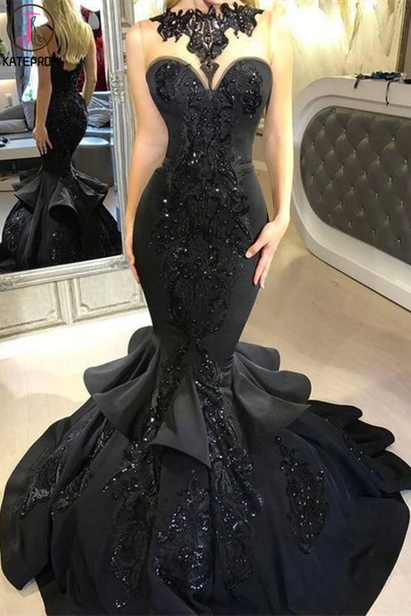 Kateprom Mermaid Prom Dresses Scoop Black Beading Long Prom Dress for Sale KPP1331
