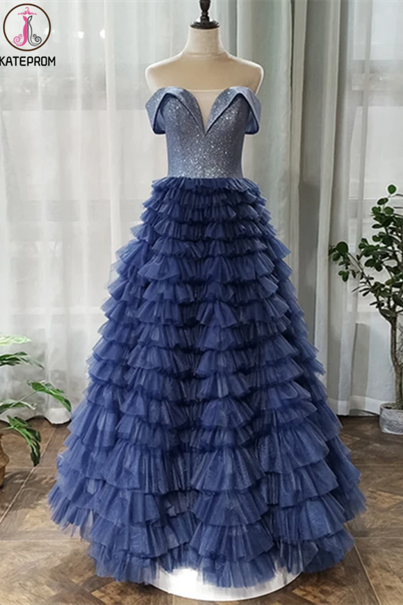 Kateprom Off the Shoulder Navy Blue Tulle Ruffles A Line Long Prom Dress KPP1340