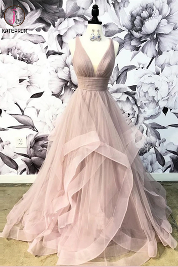 Kateprom Open Back Dusty Pink Long Prom Dress Simple Ball Gowns Unique Prom Dress Long Evening Gowns KPP1342