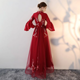 Kateprom A line V neck Chic Tulle Burgundy Applique Long Prom Dress Evening Dress KPP1359