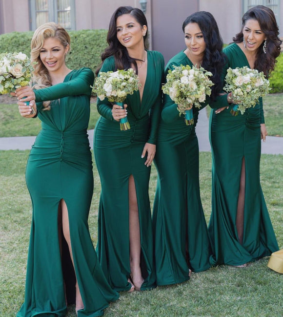 Kateprom Mermaid Bridesmaid Formal Dress Front Split Deep V Neck Long Sleeves Bridesmaid Dresses KPB0197