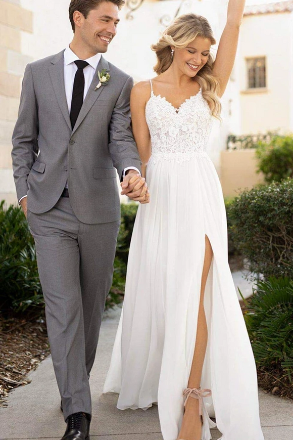 Kateprom Front Split Spaghetti Straps Lace Chiffon Long Flowy Beach Wedding Dresses KPW0647