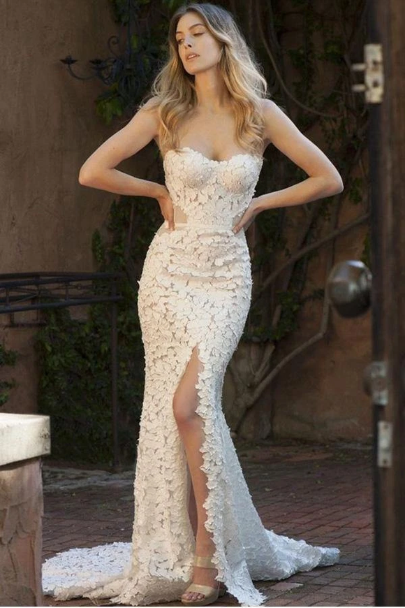 Kateprom Mermaid Lace Sweetheart Sleeveless Sweep Train Split Wedding Dress KPW0649