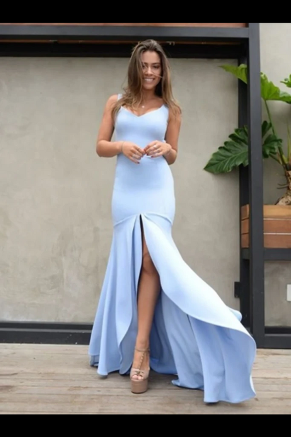 Kateprom Mermaid Backless Prom Dresses Simple Bridesmaid Dress Satin Floor KPB0199