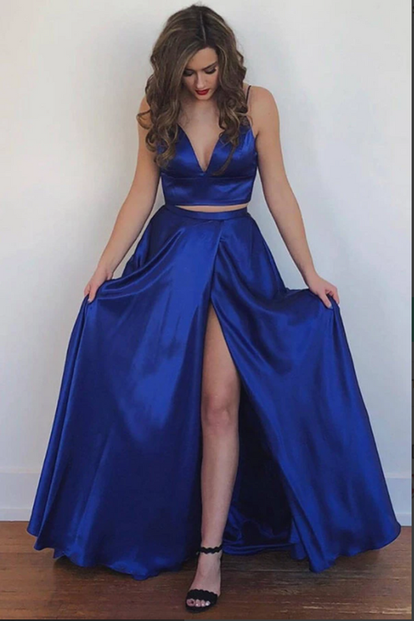 Kateprom Cute Two Piece Floor Length Royal Blue Prom Dresses With Front Split KPP1388