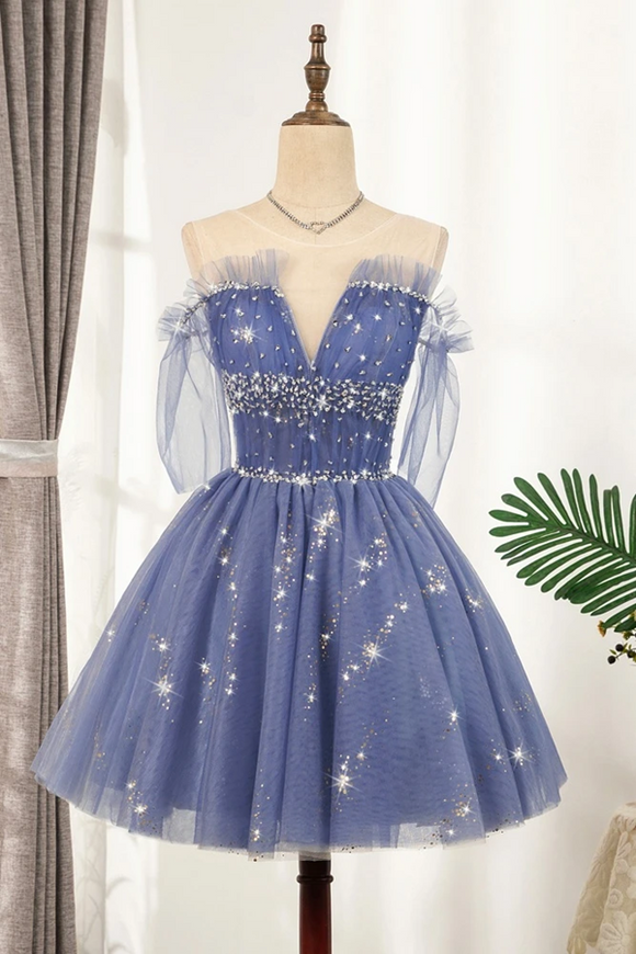 Kateprom Flowy Cute A line Blue Homecoming Dresses Short Beading Prom Dress KPH0553