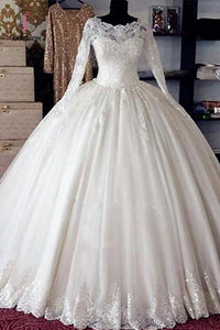 Vintage Long Sleeves Lace Ball Gown Bridal Gown Wedding Dresses, Princess Bridal Dress KPW0282