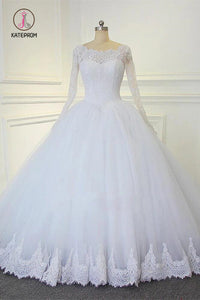 White Ball Gown Long Sleeves Bridal Dresses with Lace, Gorgeous Wedding Dresses KPW0283