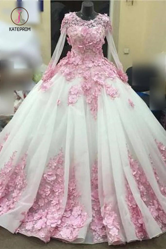 Ball Gown New Style Long Sleeve Tulle Prom Dress with Pink Flowers, Ivory Wedding Dress KPW0284