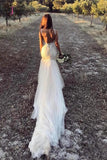 Vintage Mermaid Wedding Dresses, V Neck Backless Tulle Bridal Dress with Train KPW0288