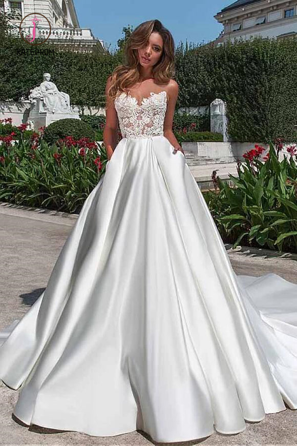 Charming Sheer Neckline A-line Satin Wedding Dress With Pockets Lace Appliques KPW0289