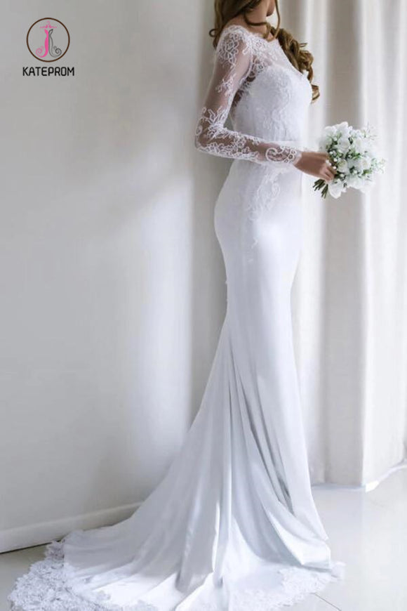 Elegant Lace Long Sleeves Mermaid White Wedding Dress with Train, Bridal Dress KPW0290