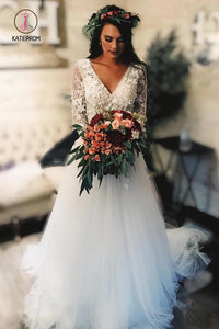 Long Sleeve Lace Tulle Boho Wedding Dresses Rustic Bridal Dress, Beach Wedding Dress KPW0292