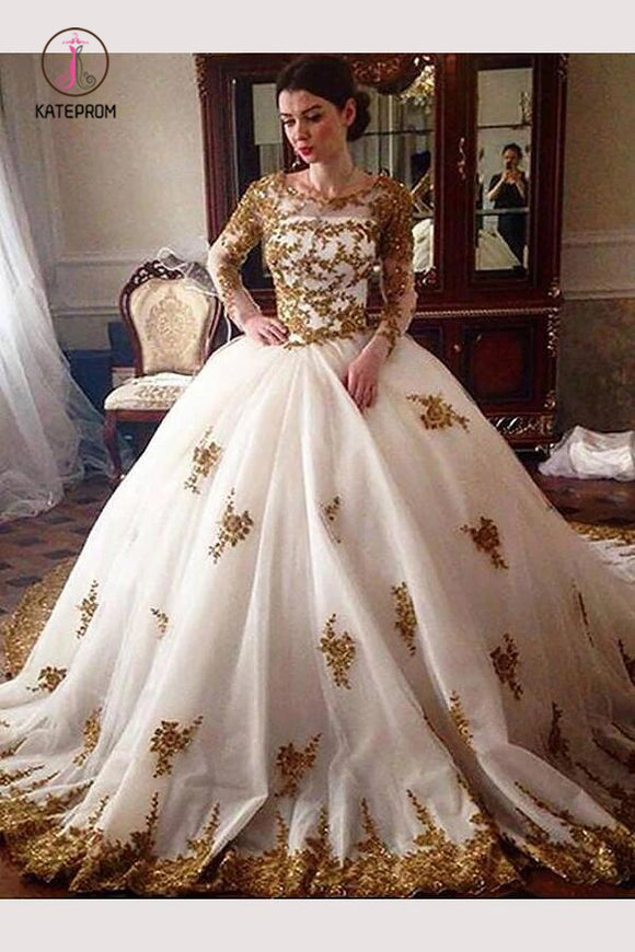 Ball Gown Long Sleeves Tulle Wedding Dress with Gold Appliques, Ivory Long Bridal Dress  KPW0293