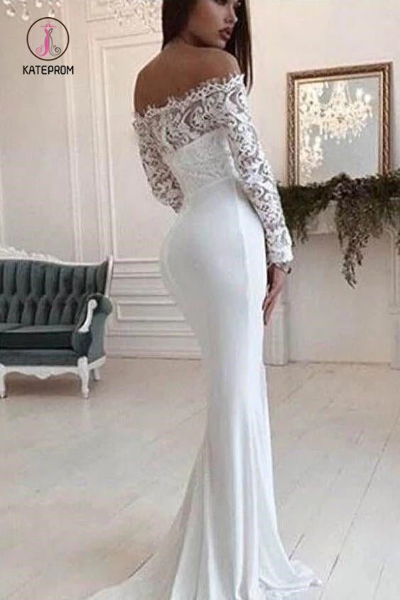 Mermaid Wedding Dress Long Sleeves Off the Shoulder Bridal Dress with Lace KPW0296