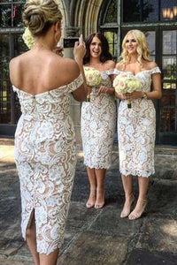 Elegant Sheath Off the Shoulder Tea Length White Lace Bridesmaid Dress KPB0014