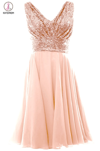 Blush Pink V Neck Sleeveless Chiffon Short Bridesmaid Dress with Rose Gold Sequins,Prom Gown KPB0013