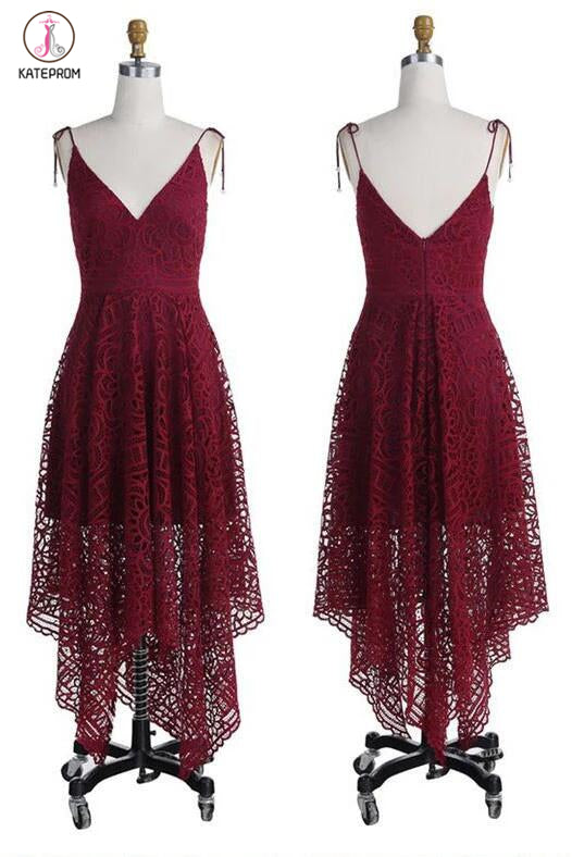 Spaghetti Straps Bridesmaid Dresses,Burgundy Lace Backless Bridesmaid Gown,Prom Dresses KPB0011