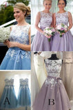 Lilac Lace Appliqued Sleeveless Short Bridesmaid Dress,Mini Dress With Belt,Short Prom Dress KPB0010
