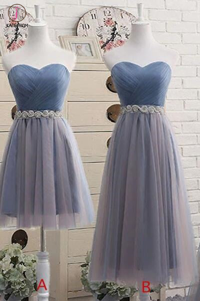 Sweetheart Bridesmaid Dress,Short Bridesmaid Gown,Tea-Length Tulle Prom Dress,Short Prom Dress KPB0009