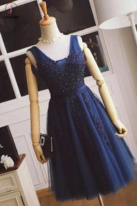 A-line Bridesmaid Dresses,Tulle with Lace Appliqued Navy Blue Short Prom Dresses,Mini Dress KPB0008