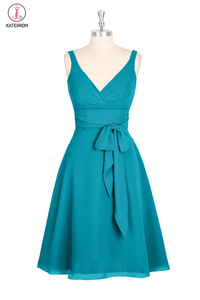A-line V-neck Chiffon Turquoise Short Bridesmaid Homecoming Dresses KPB0007