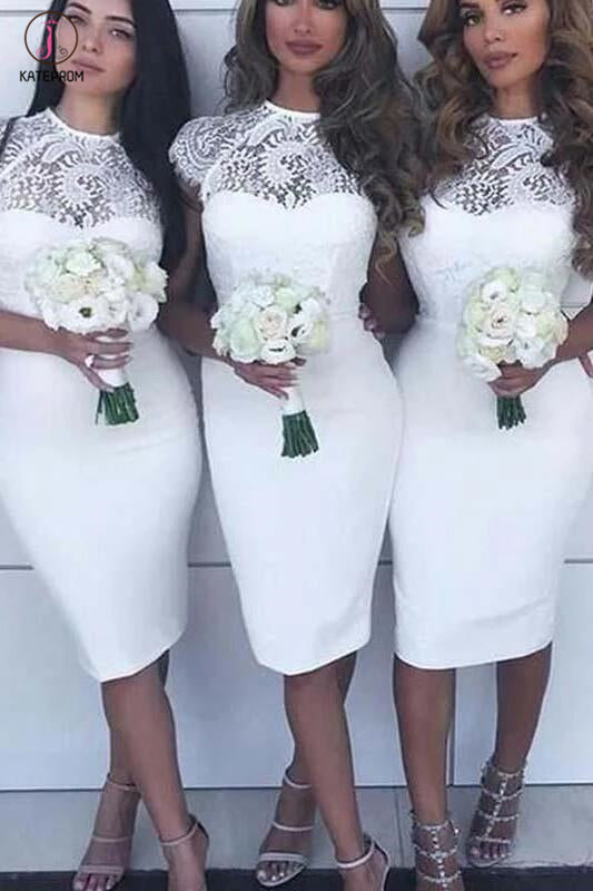 White Lace Top Cap Sleeves Knee Length Sheath Short Bridesmaid Dresses KPB0028
