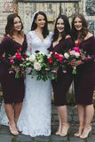 Knee Length Dark Purple Long Sleeve V Neck Sheath Bridesmaid Dress KPB0025
