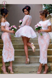 Short A-line V-neck Tulle Appliques Lace Long Sleeve Unique Bridesmaid Dresses KPB0023