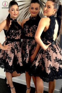 A-line Open Back High Neck Tulle Short Appliques Black Lace Latest Bridesmaid Dresses KPB0022