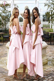 High Low Strapless Bridesmaid Dress, Pink Short Bridesmaid Dress with Bow KPB0019
