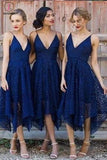 Asymmetrical V Neck Lace Bridesmaid Dress, Cheap Lace Sleeveless Bridesmaid Gown KPB0018