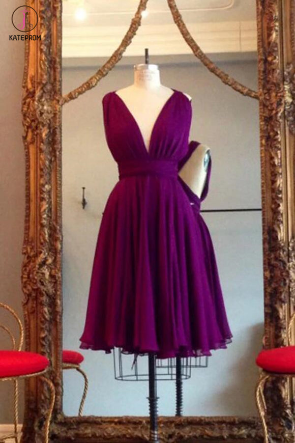 A Line V Neck Purple Sleeveless Chiffon Bridesmaid Dress, Knee Length Homecoming Dresses KPB0016