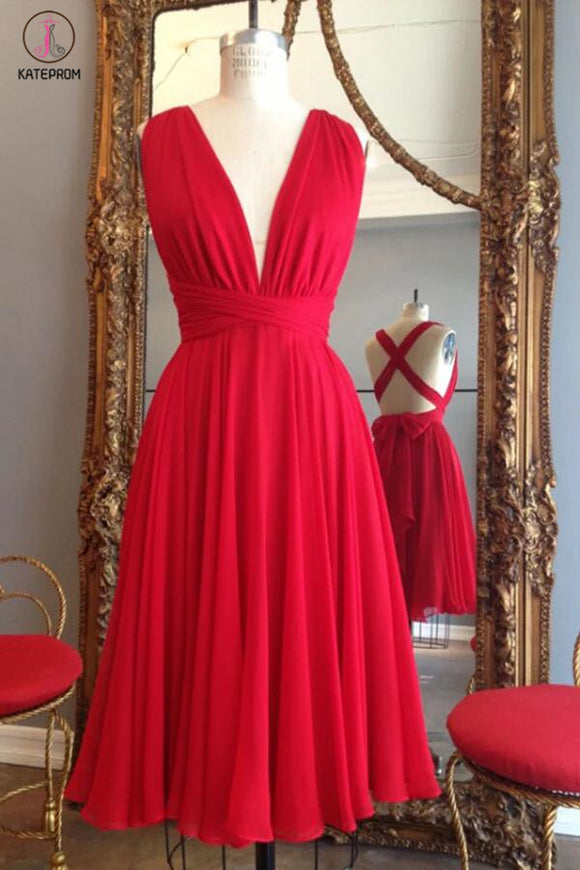 Red Knee Length Deep V Neck Sleeveless Chiffon Prom Dress, Homecoming Dress KPB0015