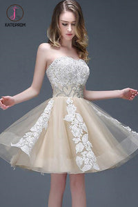 Strapless Sweetheart Appliqued Homecoming Dress with Beading Waist,Elegant Prom Dresses KPH0209