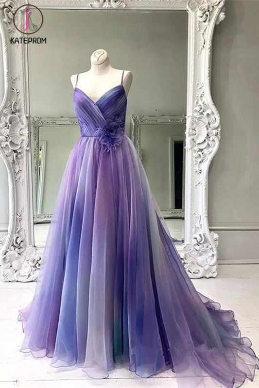 Kateprom Gradient Spaghetti Strap Formal A Line Long Prom Dresses KPP1071