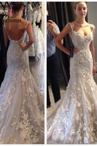 Tulle Wedding Dress With Appliques,Straps Bridal Dress,Sleeveless Mermaid Wedding Dress KPW0036