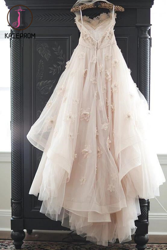 Appliqued Tulle Wedding Gowns,Princess Wedding Dress With Flowers,A-line Wedding Dress KPW0037