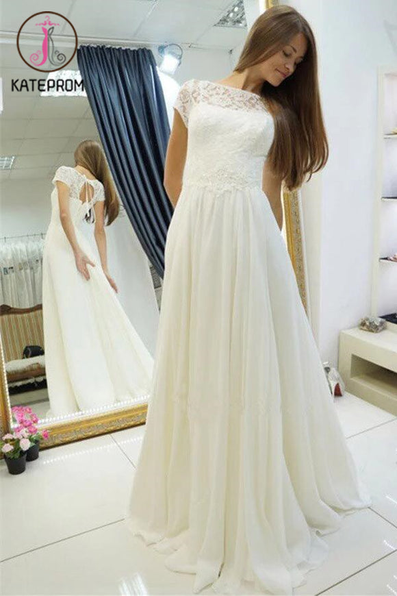 A-line Wedding Dress,Beach Wedding Gown,Sweep Train Cap Sleeves Bridal Dress with Lace KPW0038