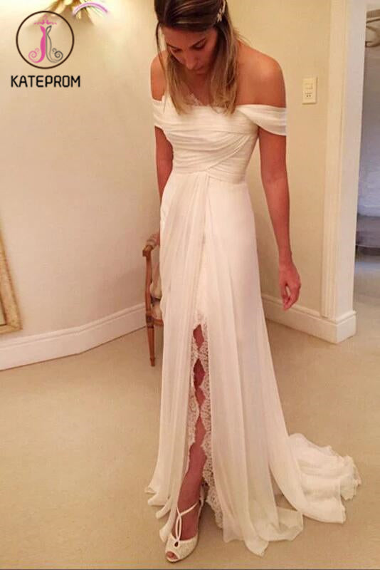 A-Line Off-the-Shoulder Wedding Dresses,Long Chiffon Beach Wedding Dress with Lace Split KPW0039